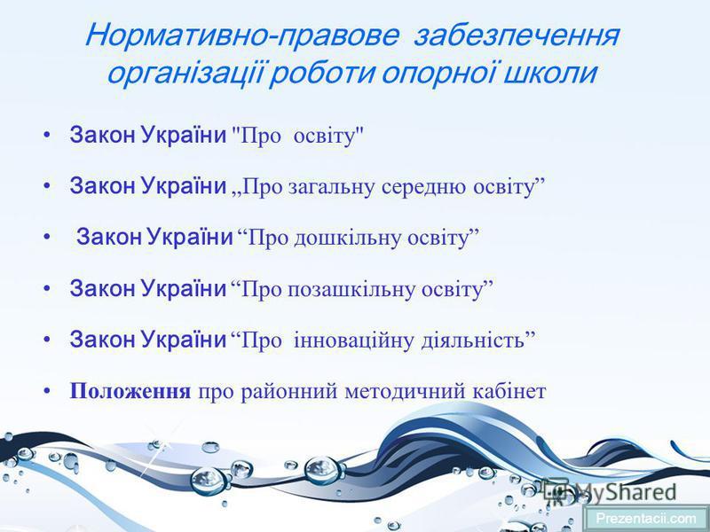Нормативно-правове забезпечення організації роботи опорної школи Закон України