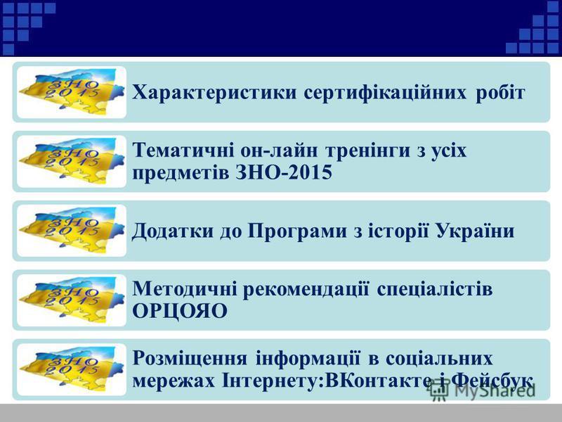 Характеристики сертифікаційних робіт Тематичні он-лайн тренінги з усіх предметів ЗНО-2015 Додатки до Програми з історії України Методичні рекомендації спеціалістів ОРЦОЯО Розміщення інформації в соціальних мережах Інтернету:ВКонтакте і Фейсбук