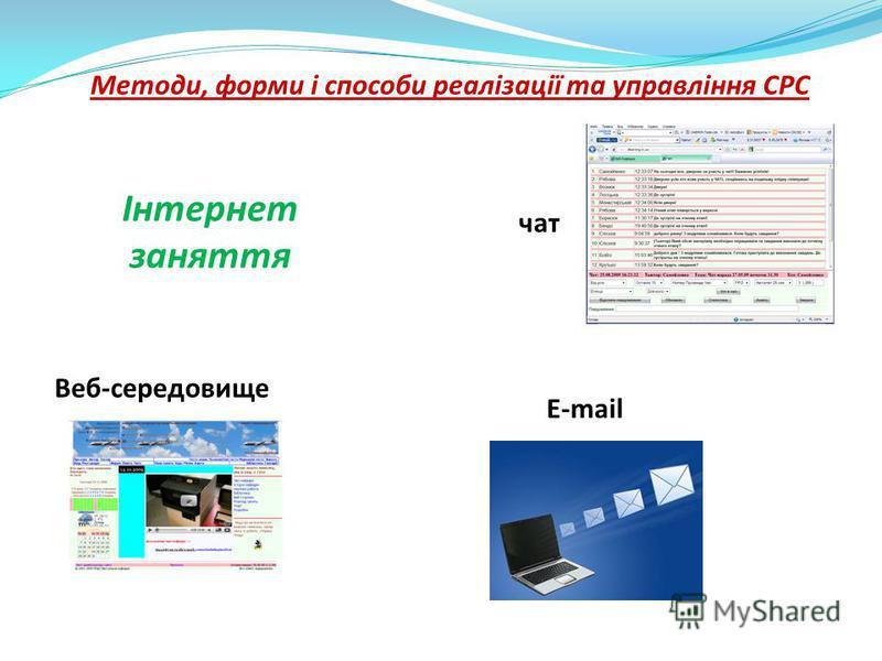 Методи, форми і способи реалізації та управління СРС Інтернет заняття чат Веб-середовище E-mail
