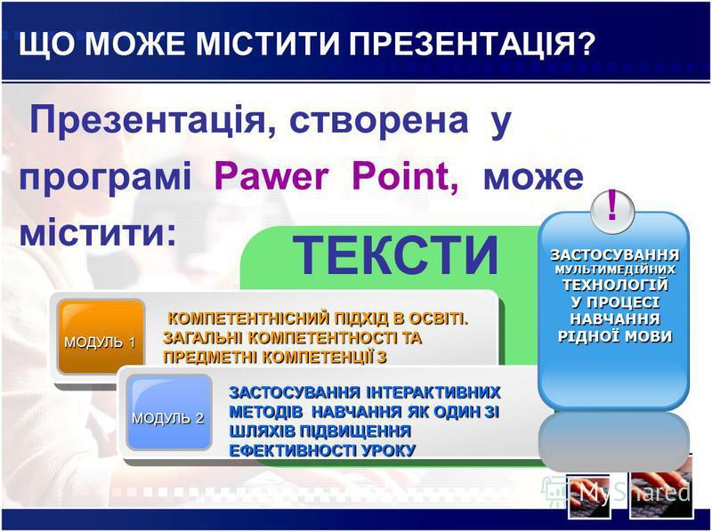 ЩО МОЖЕ МІСТИТИ ПРЕЗЕНТАЦІЯ? Презентація, створена у програмі Pawer Point, може містити: МОДУЛЬ 1 КОМПЕТЕНТНІСНИЙ ПІДХІД В ОСВІТІ. ЗАГАЛЬНІ КОМПЕТЕНТНОСТІ ТА ПРЕДМЕТНІ КОМПЕТЕНЦІЇ З УКРАЇНСЬКОЇ МОВИ КОМПЕТЕНТНІСНИЙ ПІДХІД В ОСВІТІ. ЗАГАЛЬНІ КОМПЕТЕНТ