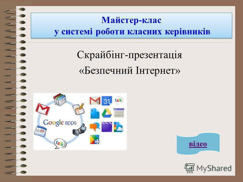 Скрайбінг-презентація «Безпечний Інтернет» Майстер-клас у системі роботи класних керівників відео