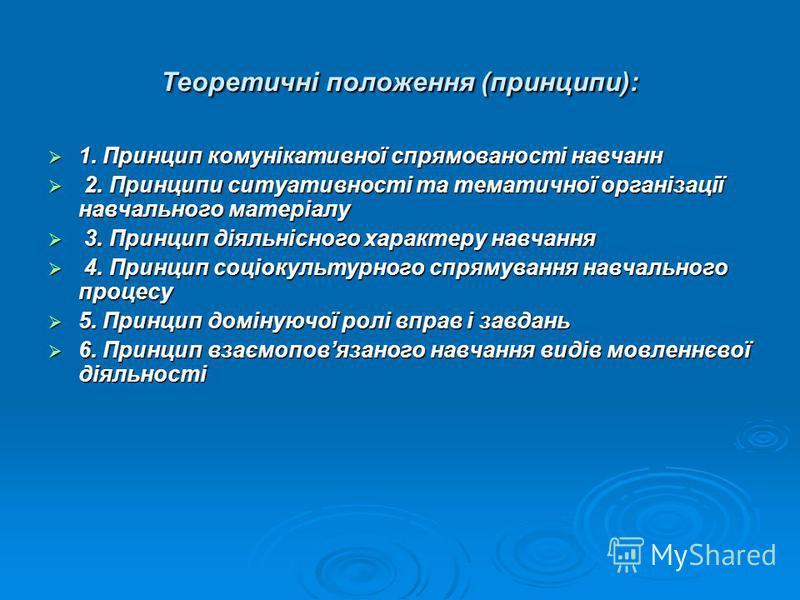 Теоретичні положення (принципи): 1. Принцип комунікативної спрямованості навчанн 1. Принцип комунікативної спрямованості навчанн 2. Принципи ситуативності та тематичної організації навчального матеріалу 2. Принципи ситуативності та тематичної організ