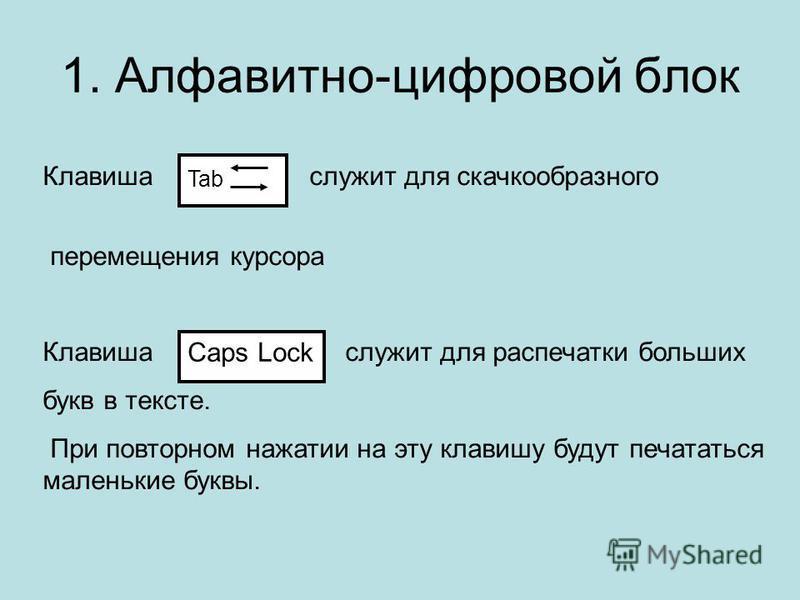 1. Алфавитно-цифровой блок Клавиша служит для скачкообразного перемещения курсора Клавиша служит для распечатки больших букв в тексте. При повторном нажатии на эту клавишу будут печататься маленькие буквы. Tab Caps Lock