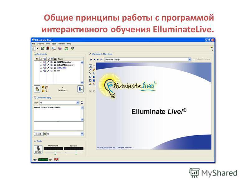 Общие принципы работы с программой интерактивного обучения ElluminateLive.
