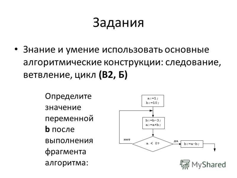 Задания Знание и умение использовать основные алгоритмические конструкции: следование, ветвление, цикл (В2, Б) a:=1; b:=10; a < 0? да нет b:=b-3; a:=a+b; b:=a-b; Определите значение переменной b после выполнения фрагмента алгоритма: