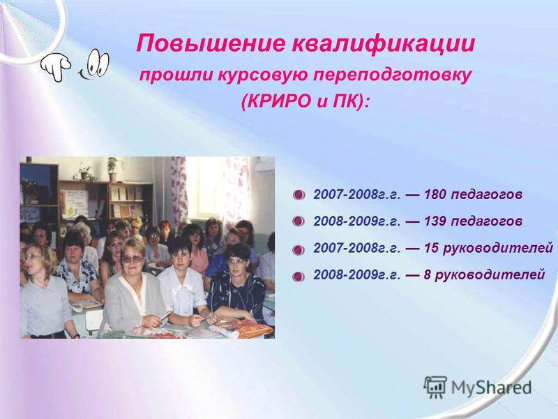 Повышение квалификации прошли курсовую переподготовку (КРИРО и ПК): 2007-2008 г.г. 180 педагогов 2008-2009 г.г. 139 педагогов 2007-2008 г.г. 15 руководителей 2008-2009 г.г. 8 руководителей