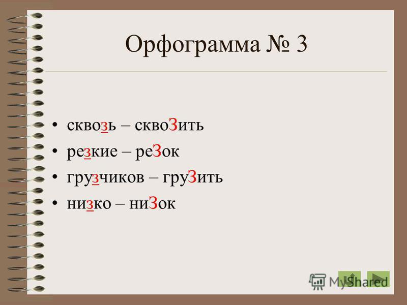 Орфограмма 3 сквозь – скво Зить резкие – ре Зок грузчиков – гру Зить низко – ни Зок