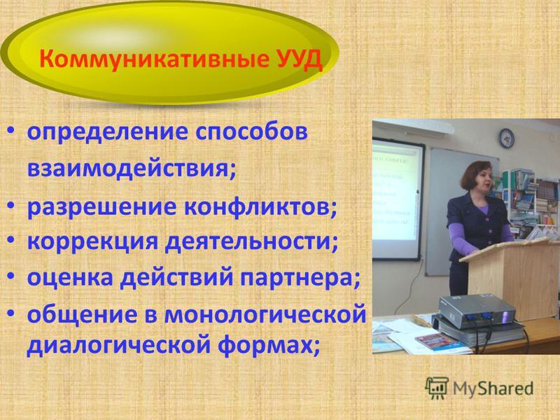 определение способов взаимодействия; разрешение конфликтов; коррекция деятельности; оценка действий партнера; общение в монологической и диалогической формах; Коммуникативные УУД