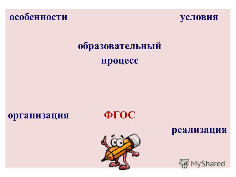 особенности образовательный процесс условия организацияФГОС реализация