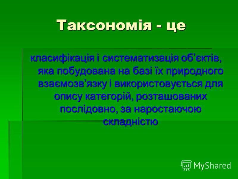 Таксономія - це класифікація і систематизація обєктів, яка побудована на базі їх природного взаємозвязку і використовується для опису категорій, розташованих послідовно, за наростаючою складністю