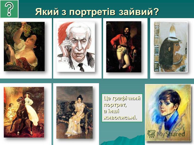 Який з портретів зайвий? Це графічний портрет, а інші живописьні.