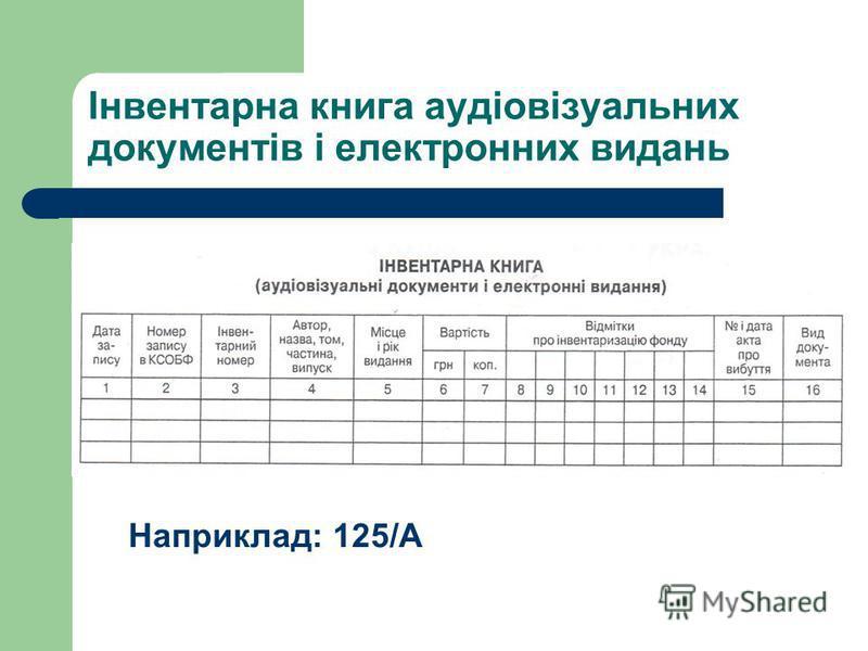 Інвентарна книга аудіовізуальних документів і електронних видань Наприклад: 125/А