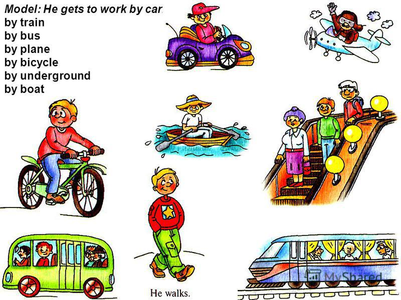 Model: He gets to work by car. by train by bus by plane by bicycle by underground by boat