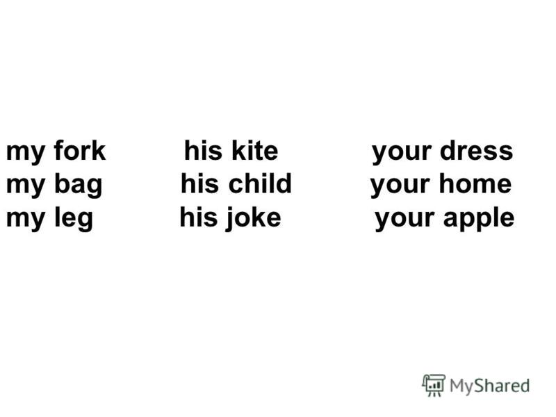 my fork his kite your dress my bag his child your home my leg his joke your apple