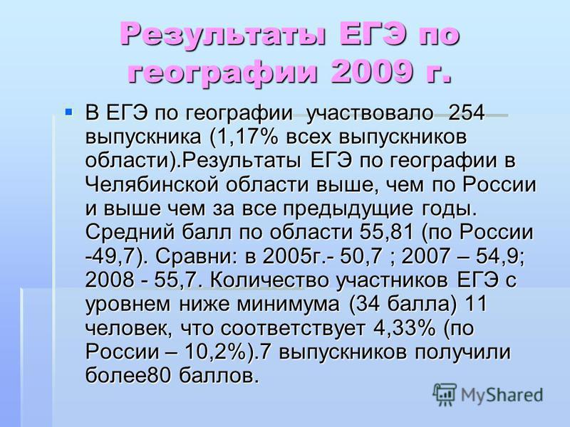 Результаты ЕГЭ по географии 2009 г. В ЕГЭ по географии участвовало 254 выпускника (1,17% всех выпускников области).Результаты ЕГЭ по географии в Челябинской области выше, чем по России и выше чем за все предыдущие годы. Средний балл по области 55,81