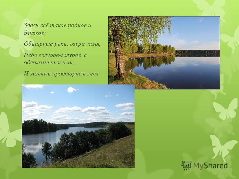 Здесь всё такое родное и близкое: Обширные реки, озера, поля, Небо голубое-голубое с облаками низкими, И зелёные просторные леса.