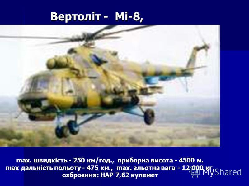 max. швидкість - 250 км/год., приборна висота - 4500 м. max дальність польоту - 475 км., max. зльотна вага - 12 000 кг. озброєння: НАР 7,62 кулемет Вертоліт - Мі-8,