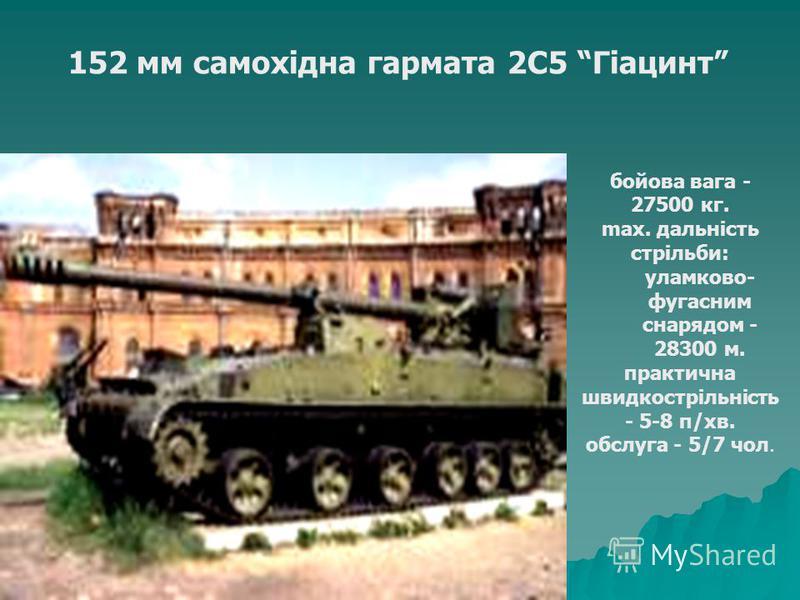 152 мм самохідна гармата 2С5 Гіацинт бойова вага - 27500 кг. max. дальність стрільби: уламково- фугасним снарядом - 28300 м. практична швидкострільність - 5-8 п/хв. обслуга - 5/7 чол.