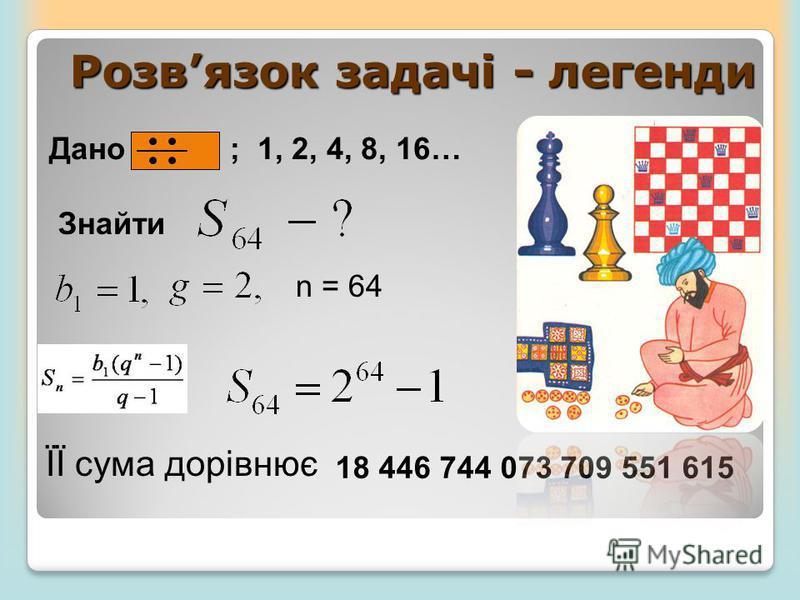 Розвязок задачі - легенди n = 64 ЇЇ сума дорівнює 18 446 744 073 709 551 615 Дано ; 1, 2, 4, 8, 16… Знайти