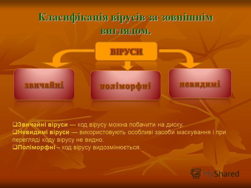 Звичайні віруси код вірусу можна побачити на диску. Невидимі віруси використовують особливі засоби маскування і при перегляді коду вірусу не видно. Поліморфні – код вірусу видозмінюється.