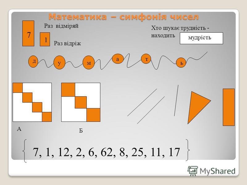 Математика – симфонія чисел Раз відріж Хто шукає трудність - находить д ум ат ь 7, 1, 12, 2, 6, 62, 8, 25, 11, 17 A Б Раз відміряй 7 1 мудрість