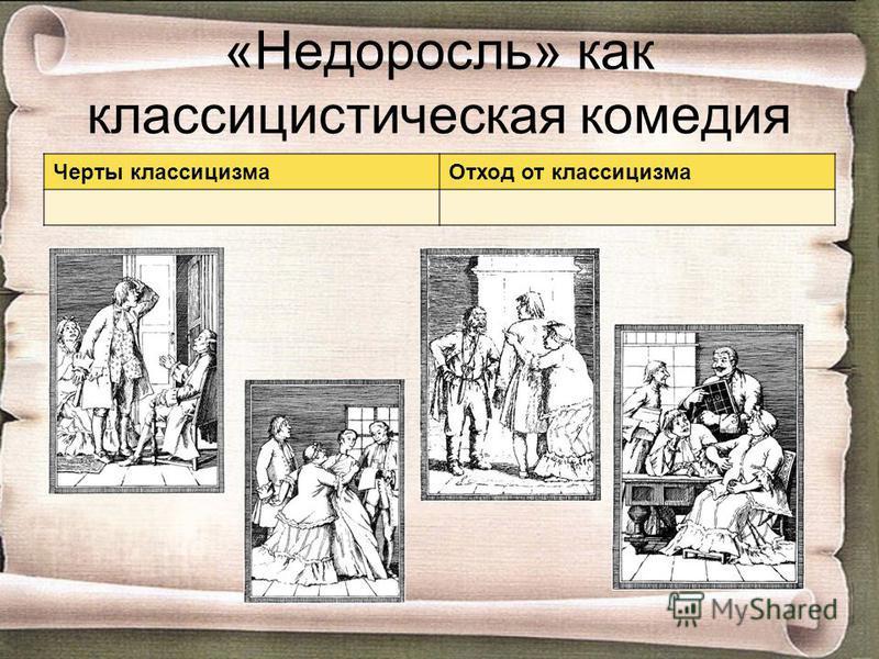 «Недоросль» как классицистическая комедия Черты классицизма Отход от классицизма