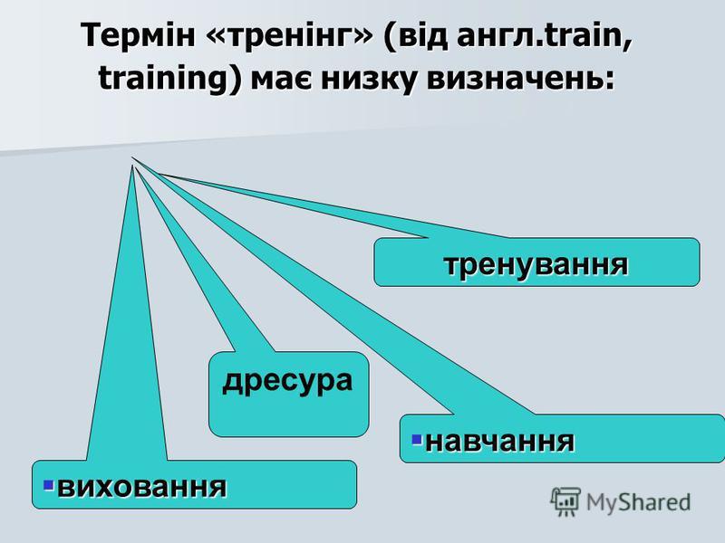 Термін «тренінг» (від англ.train, training) має низку визначень: тренування навчання виховання дресура