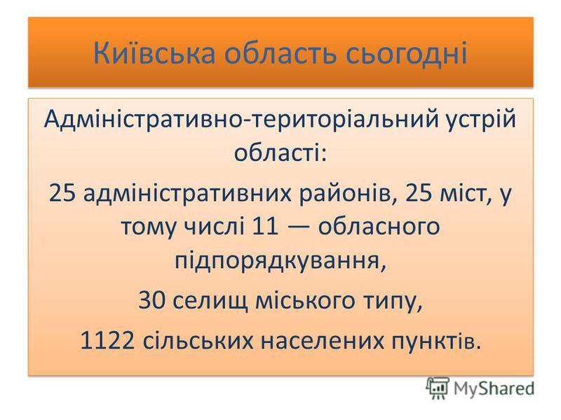 Київська область сьогодні Адміністративно-територіальний устрій області: 25 адміністративних районів, 25 міст, у тому числі 11 обласного підпорядкування, 30 селищ міського типу, 1122 сільських населених пункт ів. Адміністративно-територіальний устрій