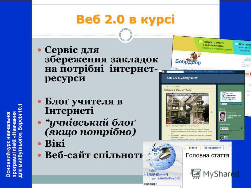 Веб 2.0 в курсі Сервіс для збереження закладок на потрібні інтернет- ресурси Блоґ учителя в Інтернеті *учнівський блоґ (якщо потрібно) Вікі Веб-сайт спільноти Основний курс навчальної програми Intel® «Навчання для майбутнього», Версія 10.1