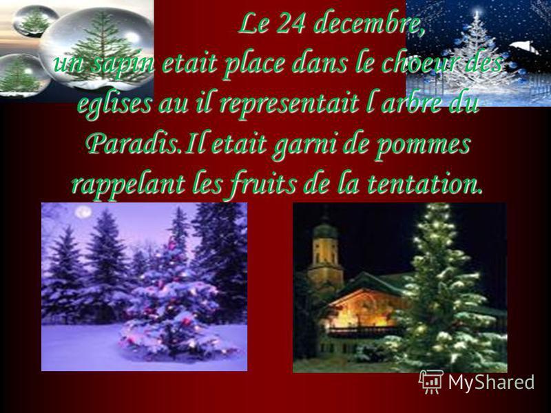 Le 24 decembre, un sapin etait place dans le choeur des eglises au il representait l arbre du Paradis.Il etait garni de pommes rappelant les fruits de la tentation. Le 24 decembre, un sapin etait place dans le choeur des eglises au il representait l