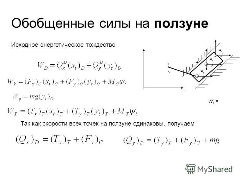 Обобщенные силы на ползуне W e = ;. Исходное энергетическое тождество Так как скорости всех точек на ползуне одинаковы, получаем