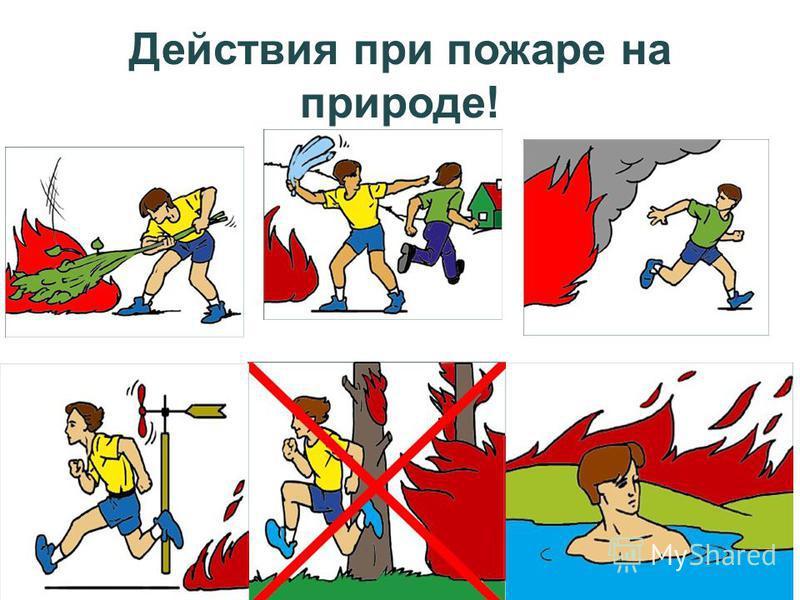 Действия при пожаре на природе!
