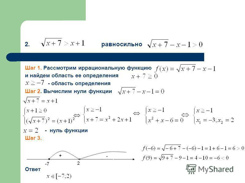 2. равносильно Шаг 1. Рассмотрим иррациональную функцию и найдем область ее определения - область определения Шаг 2. Вычислим нули функции - нуль функции Шаг 3. Ответ