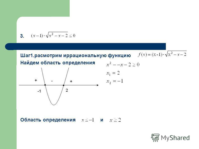 3. Шаг 1. рассмотрим иррациональную функцию Найдем область определения Область определения и
