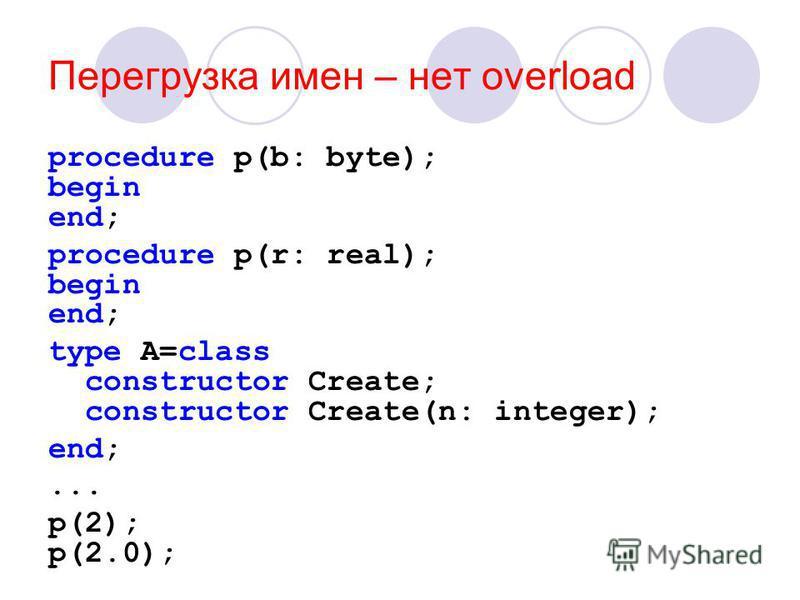 Перегрузка имен – нет overload procedure p(b: byte); begin end; procedure p(r: real); begin end; type A=class constructor Create; constructor Create(n: integer); end;... p(2); p(2.0);