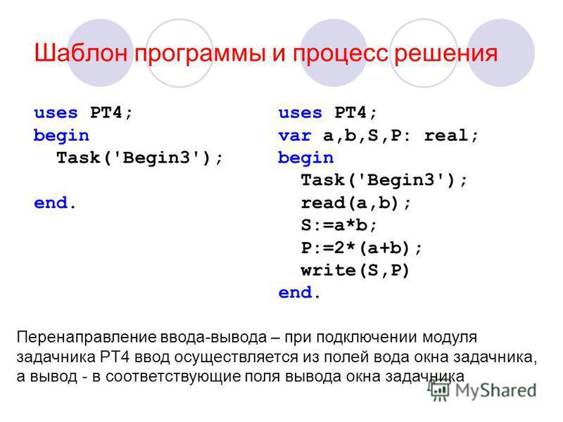 Шаблон программы и процесс решения uses PT4; begin Task('Begin3'); end. uses PT4; var a,b,S,P: real; begin Task('Begin3'); read(a,b); S:=a*b; P:=2*(a+b); write(S,P) end. Перенаправление ввода-вывода – при подключении модуля задачника PT4 ввод осущест