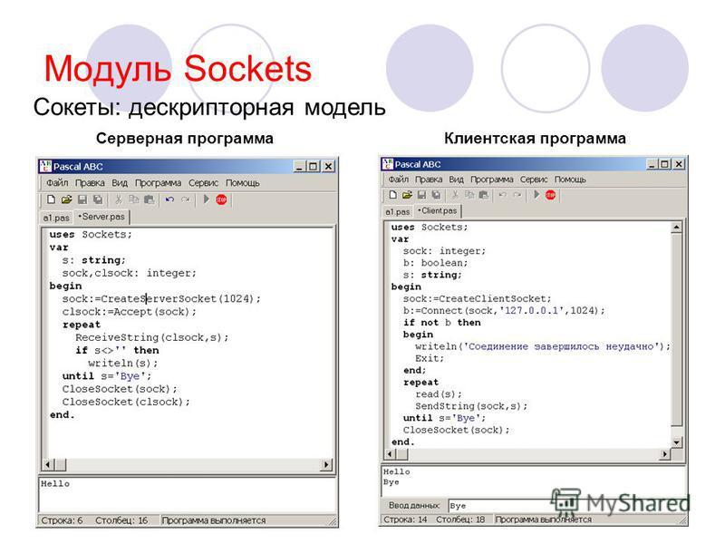 Модуль Sockets Клиентская программа Серверная программа Сокеты: дескрипторная модель