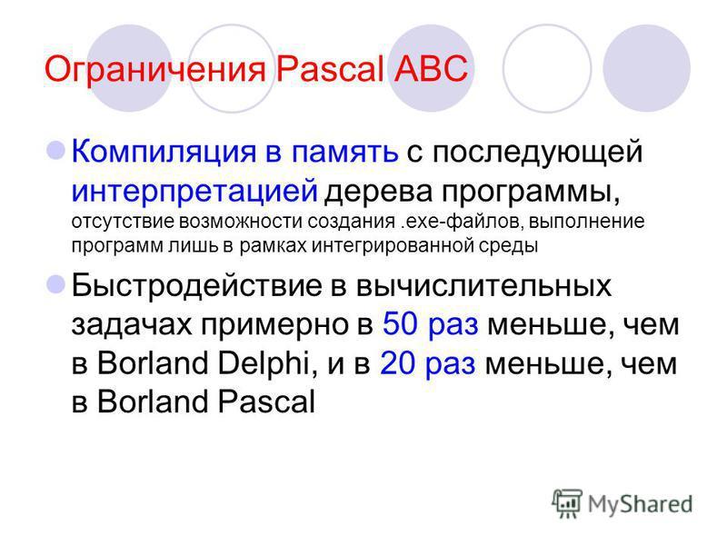 Ограничения Pascal ABC Компиляция в память с последующей интерпретацией дерева программы, отсутствие возможности создания.exe-файлов, выполнение программ лишь в рамках интегрированной среды Быстродействие в вычислительных задачах примерно в 50 раз ме