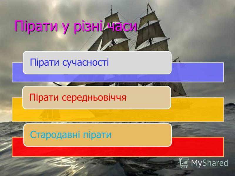 Пірати у різні часи Пірати сучасностіПірати середньовіччяСтародавні пірати