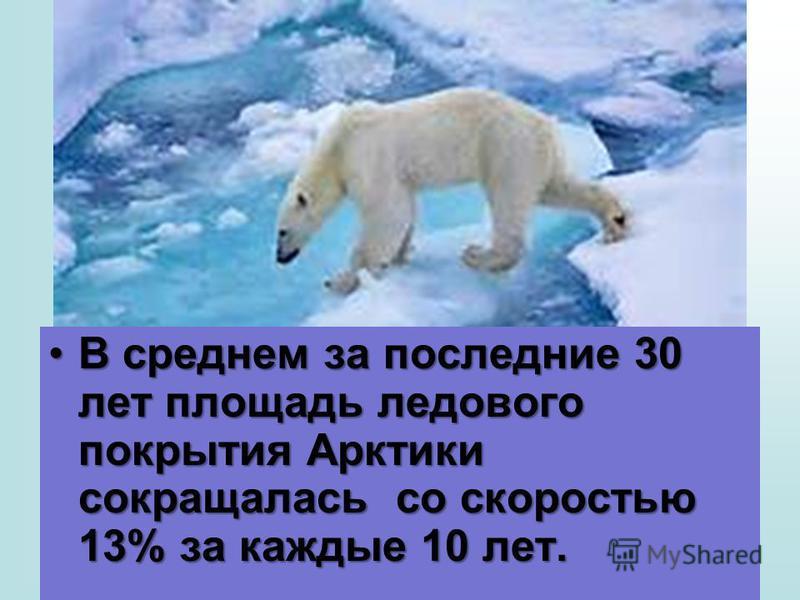 В среднем за последнии 30 лет площадь ледового покрытия Арктики сокращалась со скоростью 13% за каждые 10 лет.В среднем за последнии 30 лет площадь ледового покрытия Арктики сокращалась со скоростью 13% за каждые 10 лет.