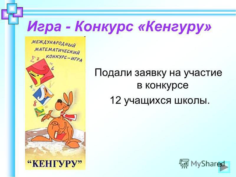 Игра - Конкурс «Кенгуру» Подали заявку на участие в конкурсе 12 учащихся школы. 15