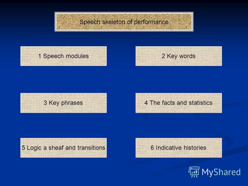 Speech skeleton of performance 1 Speech modules 4 The facts and statistics 2 Key words 5 Logic a sheaf and transitions 3 Key phrases 6 Indicative histories
