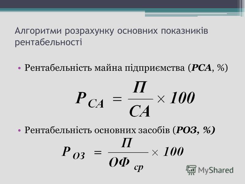 Алгоритми розрахунку основних показників рентабельності Рентабельність майна підприємства (РСА, %) Рентабельність основних засобів (РОЗ, %)