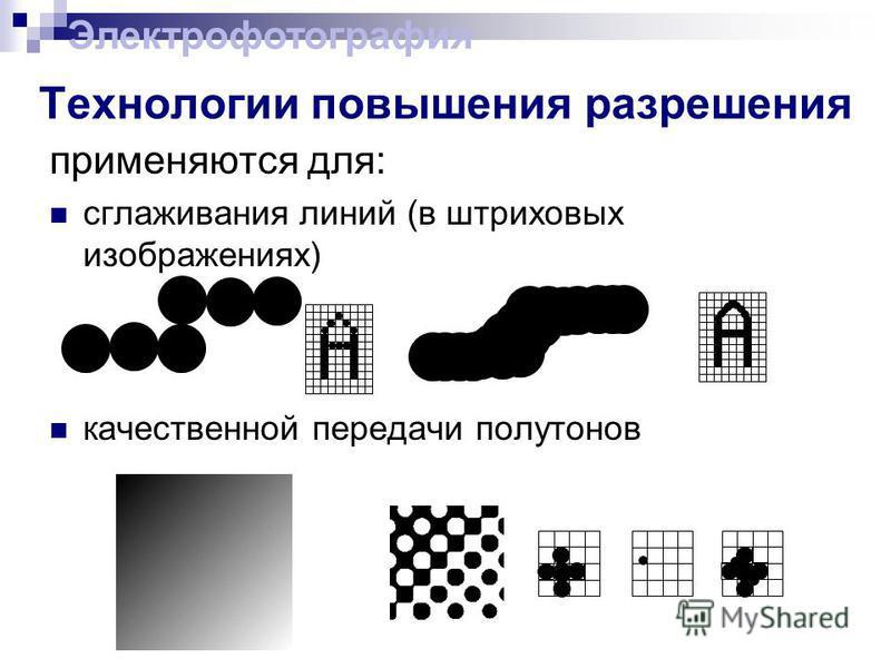 применяются для: сглаживания линий (в штриховых изображениях) качественной передачи полутонов Технологии повышения разрешения Электрофотография