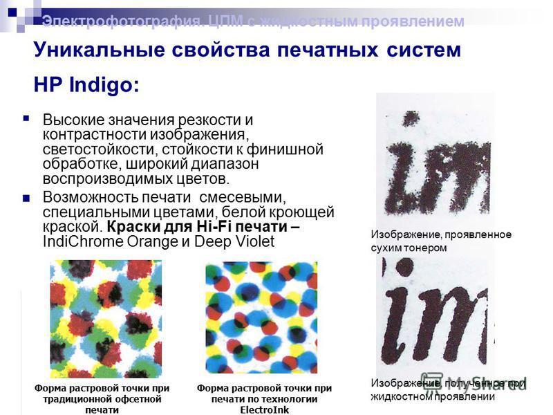 Уникальные свойства печатных систем HP Indigo: Высокие значения резкости и контрастности изображения, светостойкости, стойкости к финишной обработке, широкий диапазон воспроизводимых цветов. Возможность печати смесевыми, специальными цветами, белой к