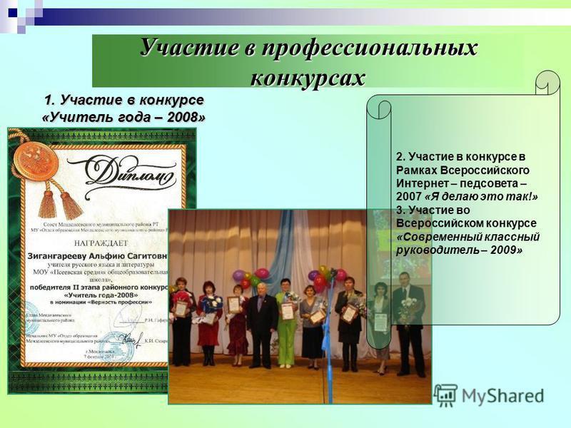 Участие в профессиональных конкурсах 1. Участие в конкурсе «Учитель года – 2008» 2. Участие в конкурсе в Рамках Всероссийского Интернет – педсовета – 2007 «Я делаю это так!» 3. Участие во Всероссийском конкурсе «Современный классный руководитель – 20