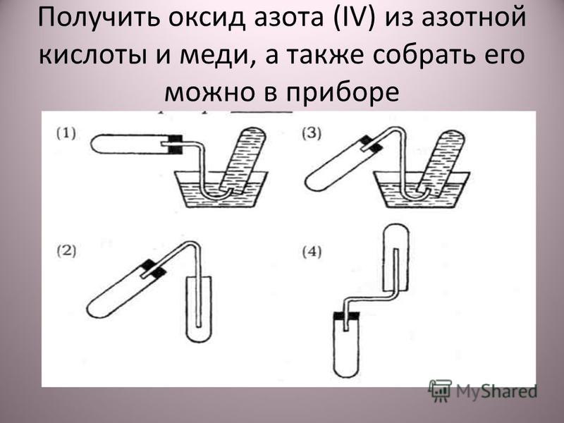 Получить оксид азота (IV) из азотной кислоты и меди, а также собрать его можно в приборе