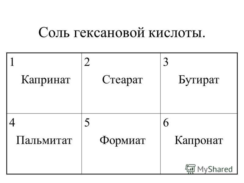 Соль гексановой кислоты. 1 Капринат 2 Стеарат 3 Бутират 4 Пальмитат 5 Формиат 6 Капронат