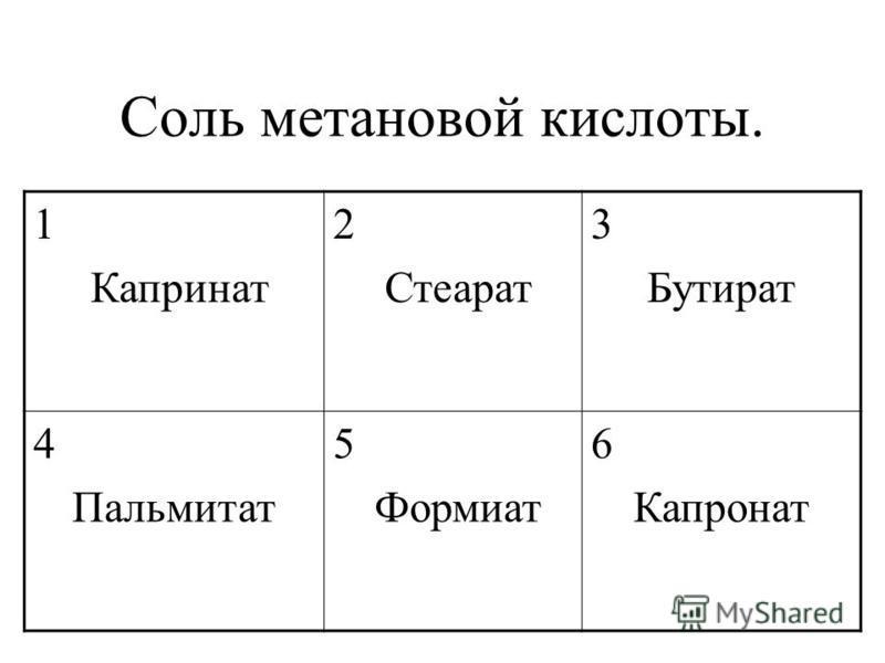 Соль метановой кислоты. 1 Капринат 2 Стеарат 3 Бутират 4 Пальмитат 5 Формиат 6 Капронат
