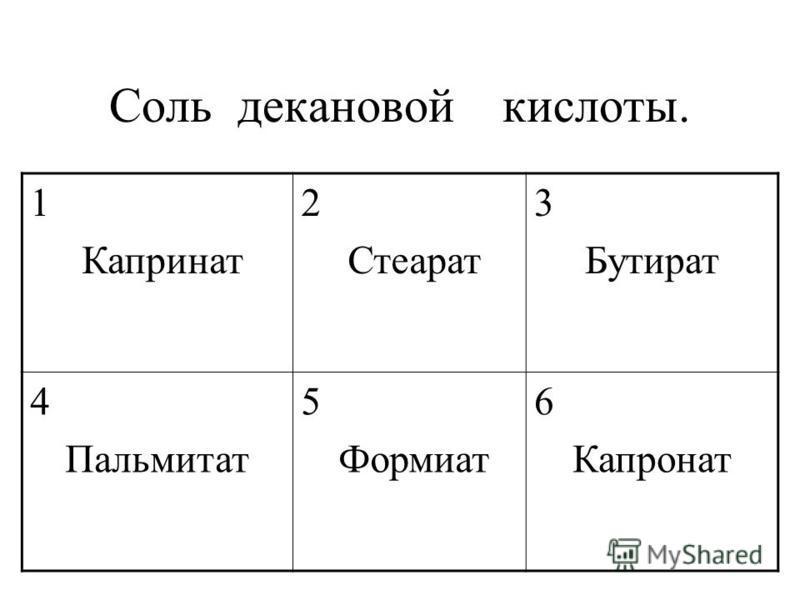 Соль декановой кислоты. 1 Капринат 2 Стеарат 3 Бутират 4 Пальмитат 5 Формиат 6 Капронат